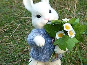 Зайчонок и ромашки) | Ярмарка Мастеров - ручная работа, handmade