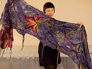 Валяние шарфа в технике нуновойлок | Ярмарка Мастеров - ручная работа, handmade