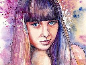 Портрет девушки акварелью. Ярмарка Мастеров - ручная работа, handmade.