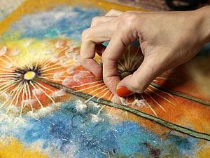 Масте-класс по мокрому валянию косметички с акварельным рисунком | Ярмарка Мастеров - ручная работа, handmade