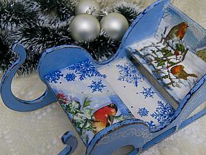 Новогодние Сани для интерьера или праздничного стола   Ярмарка Мастеров - ручная работа, handmade