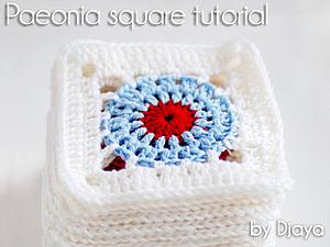 Вяжем квадратный мотив Paeonia