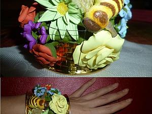 Отделка цветами из полимерной глины металлического браслета. Ярмарка Мастеров - ручная работа, handmade.