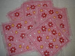 Декорируем салфетки из льна при помощи штампа. Ярмарка Мастеров - ручная работа, handmade.