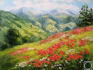 Мастер-класс живопись шерстью (сухая акварель) Горный пейзаж | Ярмарка Мастеров - ручная работа, handmade