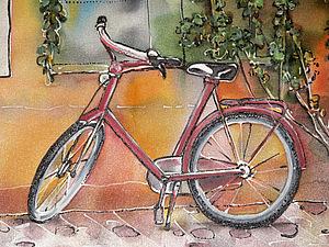 Картины на шелке. Велосипедная тема. | Ярмарка Мастеров - ручная работа, handmade