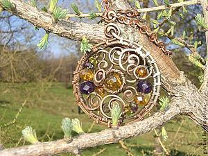 Кулон из медной проволоки в технике wire work | Ярмарка Мастеров - ручная работа, handmade