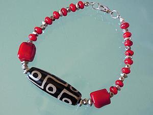 Аукцион на коралловый браслет с бусиной ДЗИ! | Ярмарка Мастеров - ручная работа, handmade