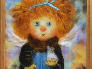 Мастер-класс по картинам из шерсти  -  Одуванчики,  Букет в вазе, Ангел с подсолнухом и мышкой   Ярмарка Мастеров - ручная работа, handmade
