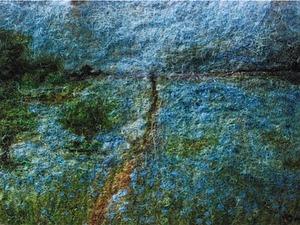 Пейзаж шерстяной акварелью на сумке. Ярмарка Мастеров - ручная работа, handmade.