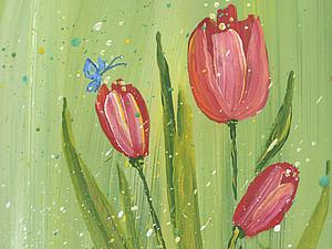 Живопись легко: нежные тюльпаны методом правополушарного рисования. Ярмарка Мастеров - ручная работа, handmade.