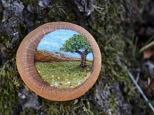 Потрясающие деревянные броши с пейзажами.   Ярмарка Мастеров - ручная работа, handmade