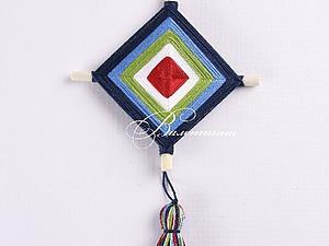 Плетем декоративную подвеску «Божье око» из ниток. Ярмарка Мастеров - ручная работа, handmade.