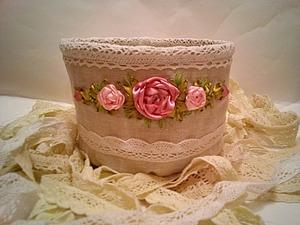 Шьем текстильную корзиночку из льна с вышивкой лентами. Ярмарка Мастеров - ручная работа, handmade.
