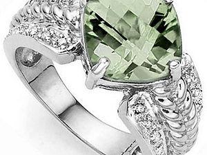 Аукцион! Серебряные кольца с зеленым аметистом и бриллиантами! 3 лота! | Ярмарка Мастеров - ручная работа, handmade
