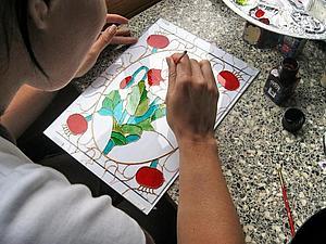 Витражное панно с цветочным рисунком - новый мастер-класс по росписи стекла! Спешите записаться! | Ярмарка Мастеров - ручная работа, handmade