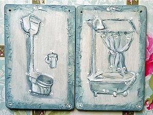 Объемный рисунок текстурной пастой: создаем таблички для ванной комнаты и туалета | Ярмарка Мастеров - ручная работа, handmade