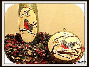 Декор елочного шара и бутылки шампанского. Авторская техника, точечная роспись с центральной заливко | Ярмарка Мастеров - ручная работа, handmade