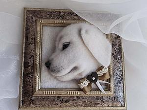Панно Нежный щенок Готовая работа | Ярмарка Мастеров - ручная работа, handmade