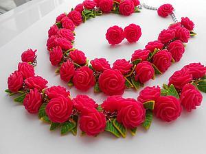 """Комплект """"Розовые розы"""" из полимерной глины. Ярмарка Мастеров - ручная работа, handmade."""