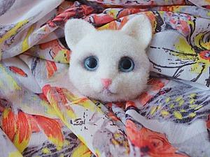Создаем войлочную брошь: «Белый котенок». Ярмарка Мастеров - ручная работа, handmade.