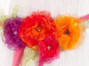 Нарядный пояс с цветами из органзы | Ярмарка Мастеров - ручная работа, handmade
