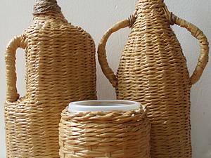 Оплетенный бутыль (Плетение из газет). Ярмарка Мастеров - ручная работа, handmade.