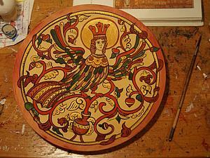 """Роспись тарелки с древнерусскими мотивами  """"Птица Сирин"""". Ярмарка Мастеров - ручная работа, handmade."""
