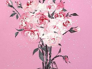 Учимся рисовать Розы на Розовом. | Ярмарка Мастеров - ручная работа, handmade