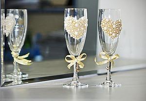 Как задекорировать свадебные бокалы. Ярмарка Мастеров - ручная работа, handmade.