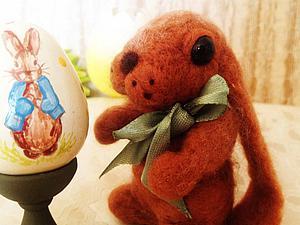 Пасхальный зайчик - сухое валяние   Ярмарка Мастеров - ручная работа, handmade