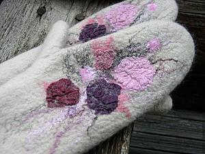 Валяем варежки с цветочным декором   Ярмарка Мастеров - ручная работа, handmade