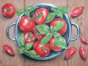 Мастер-класс: рисуем яркие помидоры сухой пастелью. Ярмарка Мастеров - ручная работа, handmade.