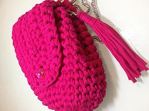 Вяжем рюкзачок из трикотажной пряжи. Ярмарка Мастеров - ручная работа, handmade.