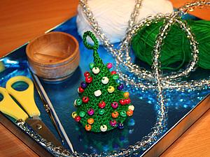 Новогодняя ёлочка (тунисское вязание, видео) | Ярмарка Мастеров - ручная работа, handmade