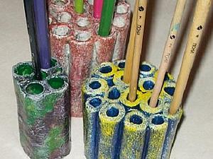 Удобная подставка для карандашей и кистей. Ярмарка Мастеров - ручная работа, handmade.