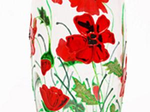Витражная роспись стеклянной вазы с использованием булёнок – «Маки в саду». Ярмарка Мастеров - ручная работа, handmade.