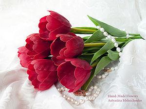 Цветы из холодного фарфора - Часть 3. Тюльпаны, handmade