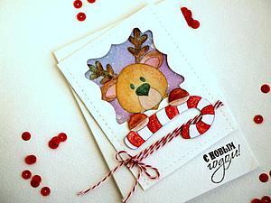 Мастерим открытку «Новогодний олень». Ярмарка Мастеров - ручная работа, handmade.