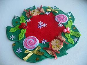 Как сделать симпатичную новогоднюю салфетку из остатков материалов | Ярмарка Мастеров - ручная работа, handmade