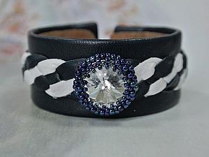 Создаем кожаный браслет в морском стиле с кристаллом Swarovski. Ярмарка Мастеров - ручная работа, handmade.