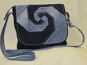 """Шьем джинсовую сумку с клапаном, декорированным лоскутным блоком """"обезьянья лапа"""". Ярмарка Мастеров - ручная работа, handmade."""
