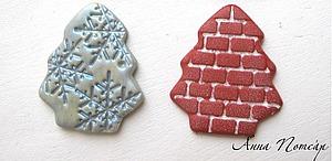Лепим кирпичные елочки-магниты из пластики   Ярмарка Мастеров - ручная работа, handmade