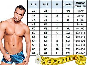 Размеры мужского нижнего белья | Ярмарка Мастеров - ручная работа, handmade