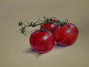 Рисуем акварелью на тонированной бумаге яркие помидорки. Ярмарка Мастеров - ручная работа, handmade.