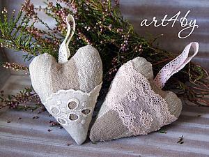 Нежные льняные сердечки с кружевами | Ярмарка Мастеров - ручная работа, handmade