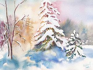 """Рисуем акварелью картину """"Разноцветная зима"""". Ярмарка Мастеров - ручная работа, handmade."""