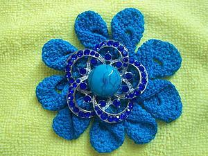 МК вязание крючком цветка (брошь) видео | Ярмарка Мастеров - ручная работа, handmade