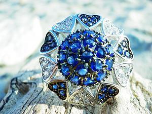 Аукцион! Очень крупный перстень с сапфирами + розыгрыш!   Ярмарка Мастеров - ручная работа, handmade