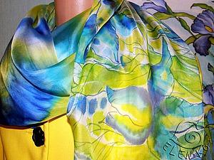 Палантин «Синие ирисы» в технике холодного батика. Ярмарка Мастеров - ручная работа, handmade.